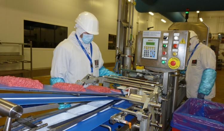 Fabrication de steaks hachés à l'usine Elivia. Pour l'Institut de l'Elevage, le prix du haché frais peut augmenter sans faire baisser la consommation. (photo d'archives)