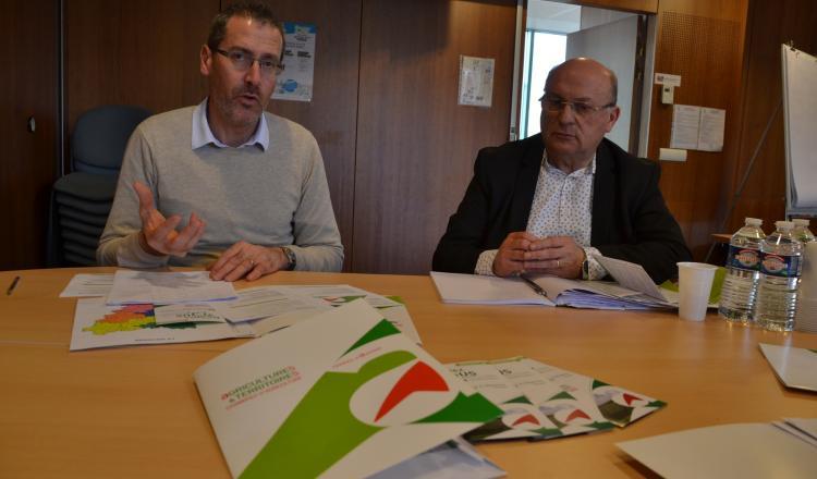 Stéphane Guioullier et Thierry Lanau, probablement les derniers président et directeur de la chambre départementale d'Agriculture de la Mayenne.