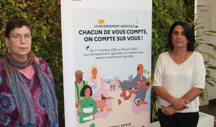 Claire Jacquet-Patry, directrice du Service régional de l'information statistique et économique, et Laurence Cochet-Mac, responsable du Pôle enquêtes. Le Srise mobilise les deux tiers de ses personnels pour le recensement agricole.