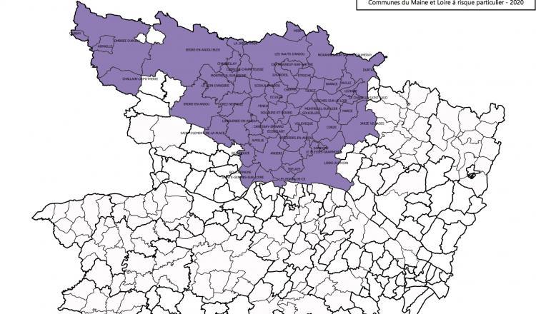 Carte des communes concernées en Maine-et-Loire.