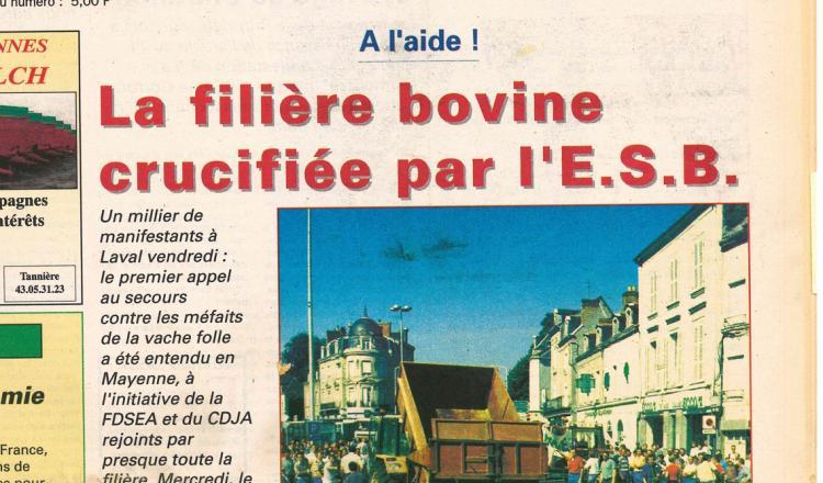 Une le 21 juin 1996. Une semaine plus tôt, un millier d'agriculteurs manifestaient à Laval.