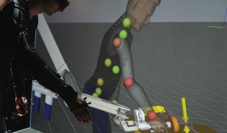 Des capteurs d'efforts ont permis de repérer le mouvement et les muscles mis à contribution lors de l'opération, pour ensuite réfléchir à des solutions, grâce à la modélisation informatique. Un exemple ici de simulation pour l'ergonomie du poste de travail et la cotation en effort. (photo Stroppa/CEA)