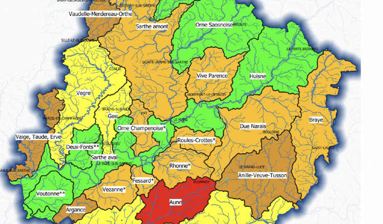 Carte des bassins-versants en Sarthe au 7 septembre.