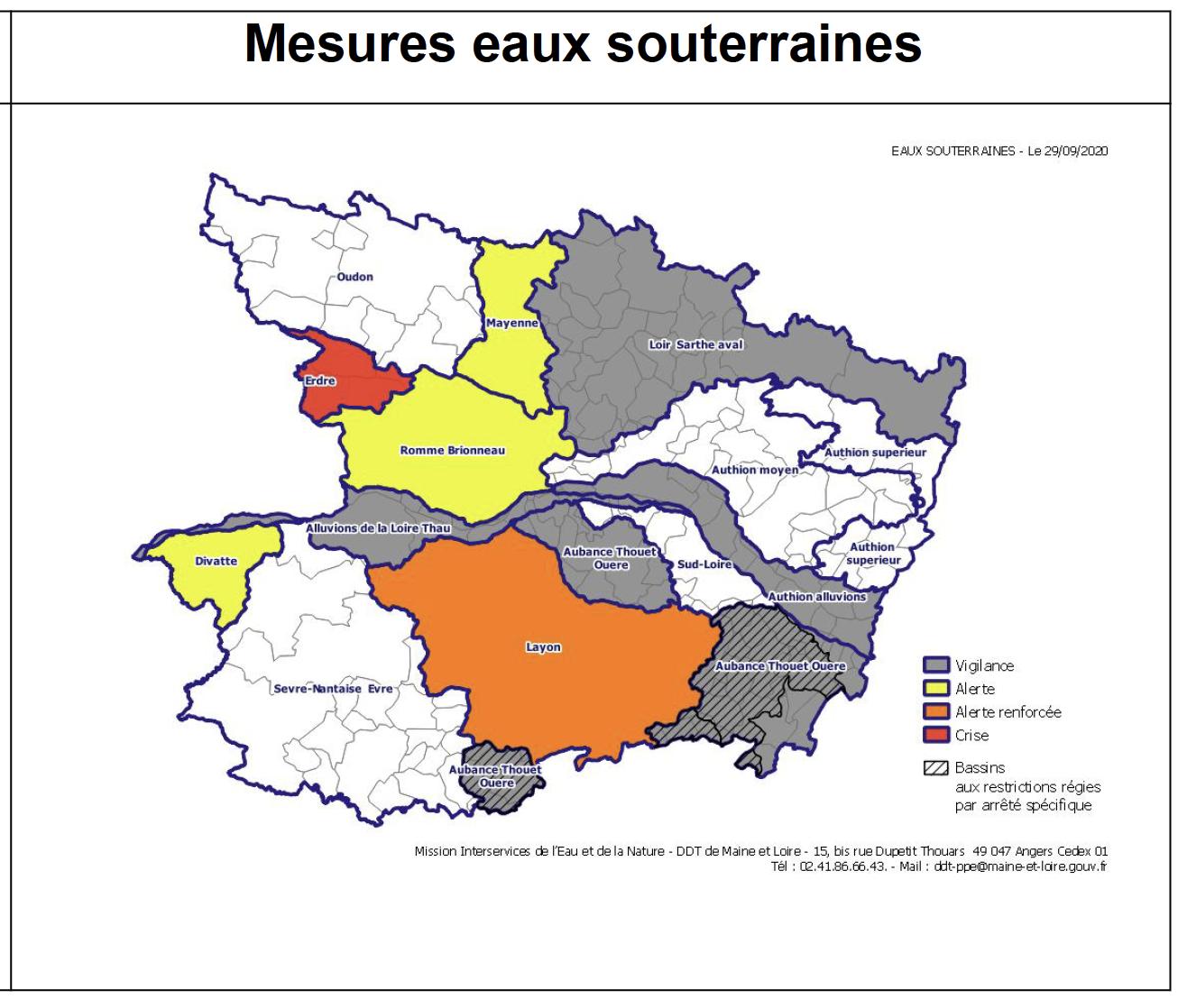 Carte des eaux souterraines au 30 septembre 2020.