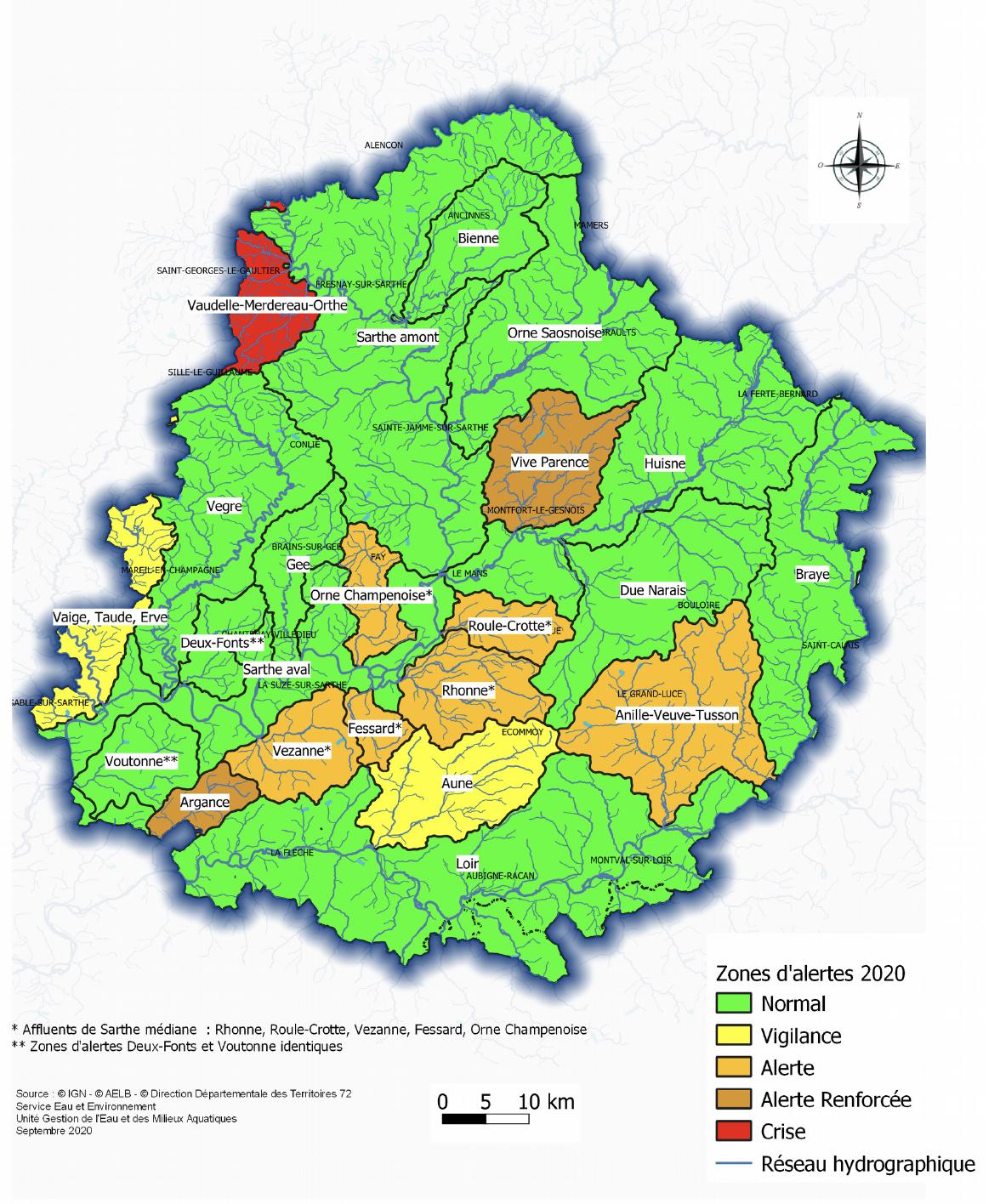 Situation au 11 octobre 2020 des zones d'alertes par rapport aux seuils de l'arrêté cadre sécheresse du 30 juin 2020.