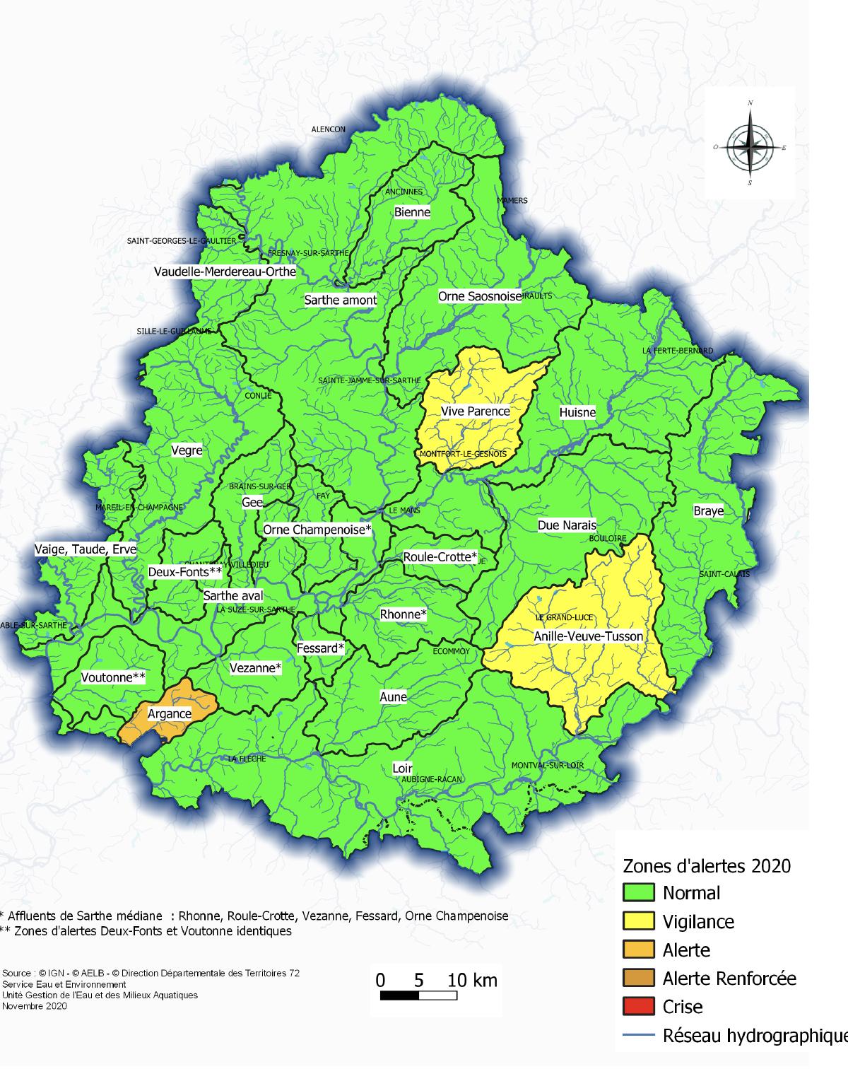 Situation au 1er novembre 2020 des zones d'alertes par rapport aux seuils de l'arrêté cadre sécheresse du 30 juin 2020.