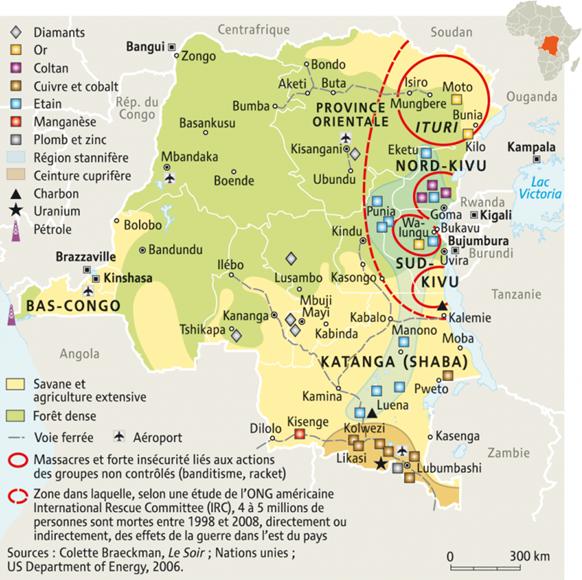 Comme le montre cette carte, la région du Kivu est soumise à de nombreuses pressions.