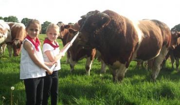 Charlotte et Gabrielle, les deux nièces de Didier Lhuissier, mèneront le taureau Graveur sur le ring lors de la vente aux enchères.