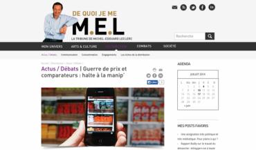 """Sur son blog, Michel-Edouard Leclerc défend ses positions. Comme ici, sur le comparateur de prix pratiqués entre les enseignes. Selon lui, les prix bas permettent de """"garder les volumes vendus et la relation avec le client""""."""
