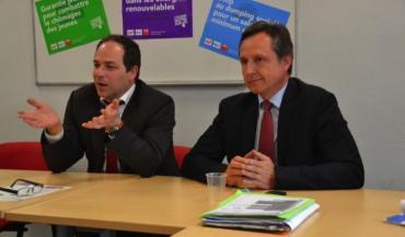 En campagne, en Mayenne, Emmanuel Maurel et Christophe Rouillon ont visité des projets de Haute-Mayenne financés par l'Europe, puis ont rencontré la présidente de la chambre d'Agriculture, avant de participer à une réunion publique.